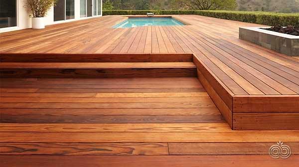Designer redwood decking kwaterski bros wood products inc for Redwood deck plans