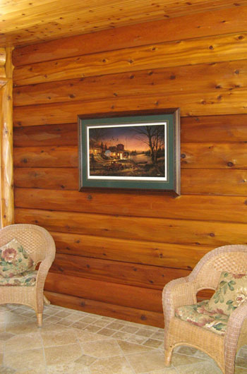Cedar Hewn Log Siding: 4×10 Hewn Cedar Tu0026G Sikkens Lu0026S 078 Natural