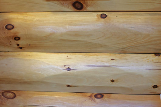 4×10 Tight Knot Pine Hewn Log Endura Oil Interior